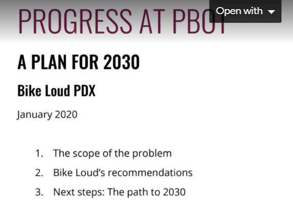 2030 Bike Plan - BikeLoud PDX Report